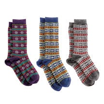 Women's Alpaca Wool Socks - Winter Snowflakes & Stripes Winter