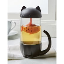 Black Cat with Goldfish Tea Infuser Mug