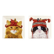 "Cats in Hats 5 3/4"" Square Plates"