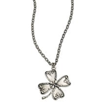 Silver-Spoon Four-Leaf Clover Necklace