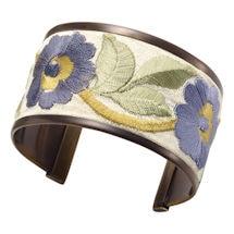 Forget-Me-Nots Ribbon Trim Cuff Bracelet