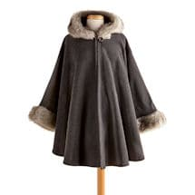 Lara Faux Fur-Trimmed Hooded Cape