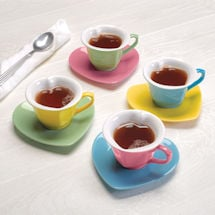 Heart-Shaped Cups and Saucers Set
