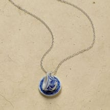 Blue Willow Teacup and Saucer Necklace