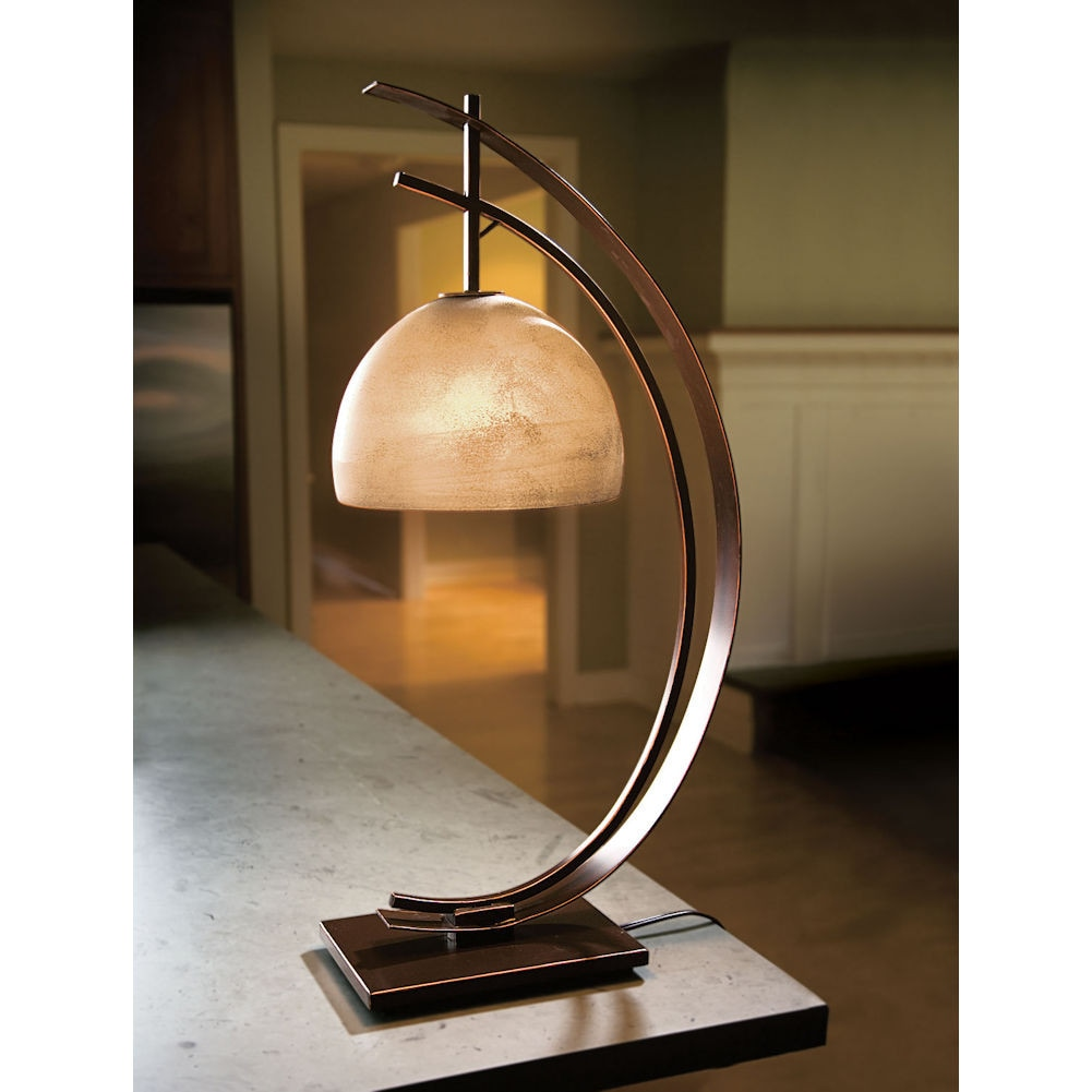 Half Moon Desk Table Lamp Accent Light Rubbed Bronze Frosted Glass