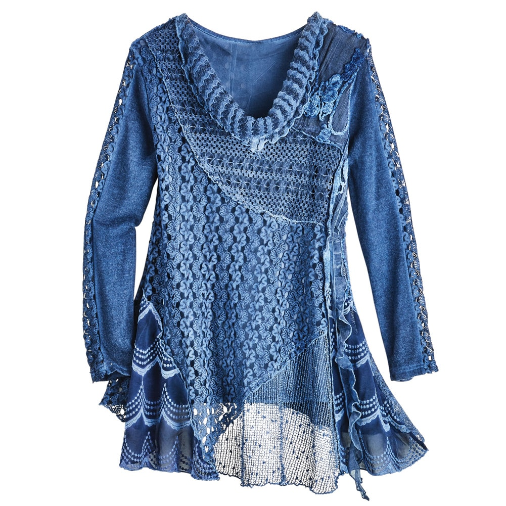 Women's Tunic Top - Knitted Lace Over Stretchy Tank