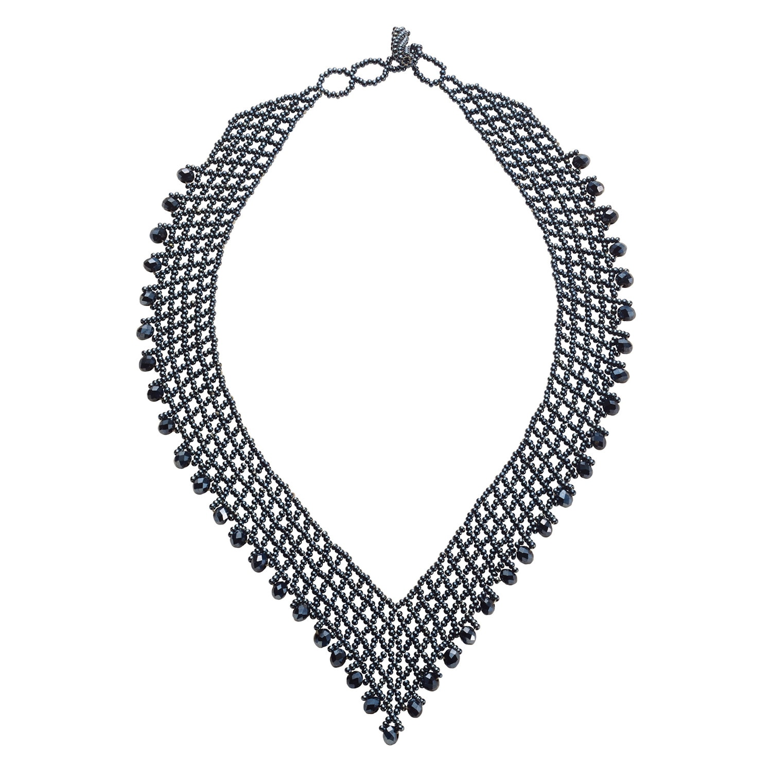 cb18ad51bd20 Women s Beaded V-Necklace - Hematite-Colored Beads - Vintage Bib Style