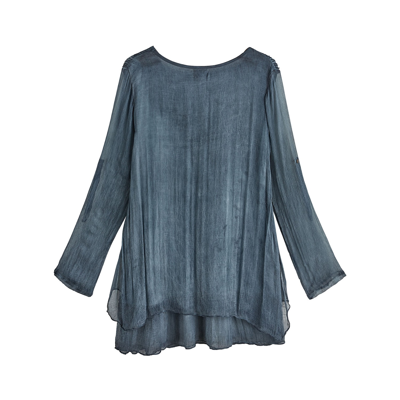 Catalog-Classics-Women-039-s-Romantic-Lace-Layered-Tunic-Top-Roll-Tab-Sleeves thumbnail 6