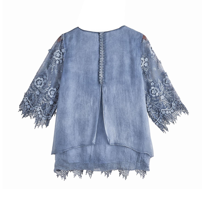 Catalog-Classics-Women-039-s-Sheer-Over-Lace-Layered-Tunic-Top-3-4-Sleeve-Shirt thumbnail 6